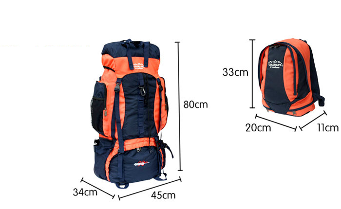 size information of Camping backpack outdoor rucksack sports rucksack