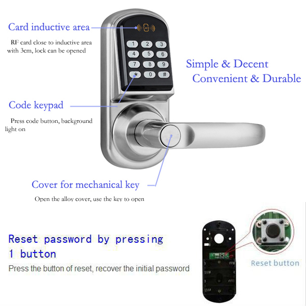 Intelligent Electronic RF Key Card Fluorescent Keypad Passwords Door Lock details