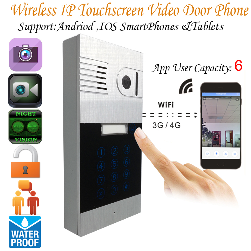 Touchscreen ip video door phone two way intercom system remotely unlock door
