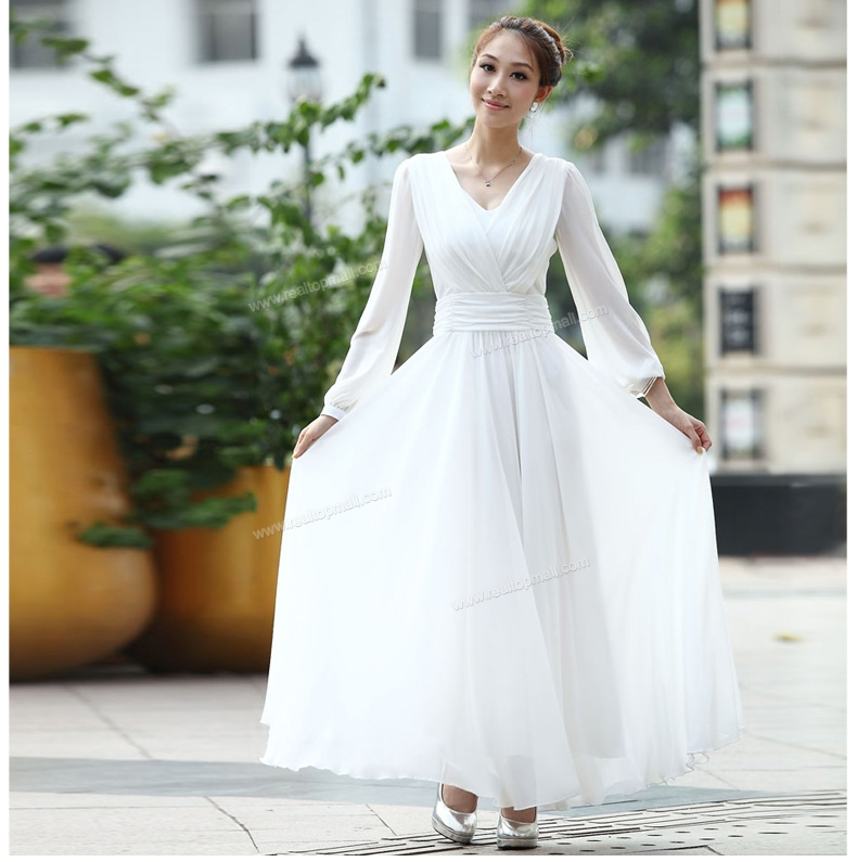 2016 Spring Autumn Elegant White Floor Length Chiffon Full Dress Long  Sleeve One Piece Dress