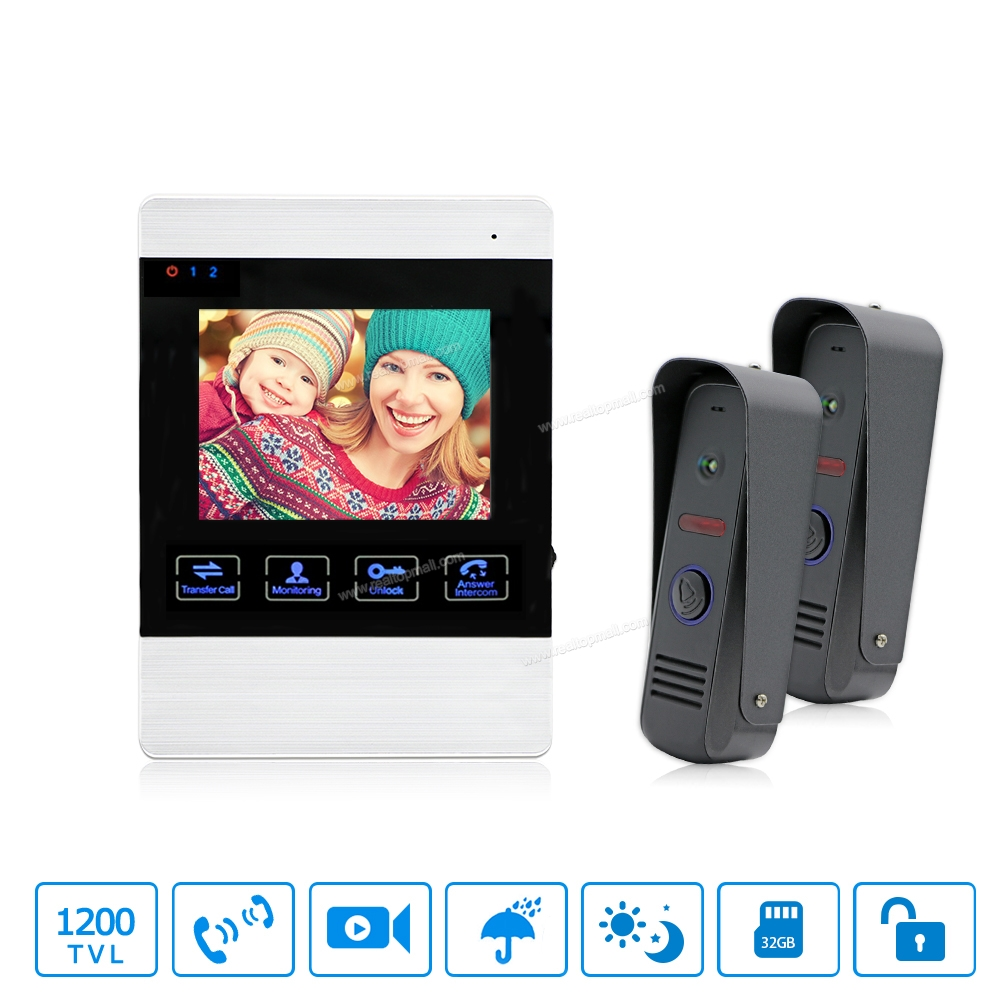 4 Inch 1200TVL Video Door Bell Video Intercom System With 2 Camera And 1  Monitor